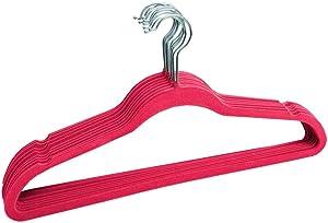 30 Pack, Velvet Flocked Hangers, 8 Multiple Colors (Fuchsia)