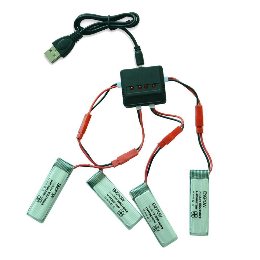 Gotd 3.7 V 500 mAhリチウムポリマーバッテリー+ A 4つ充電器for UDI u818 a u818 RCクアッドコプター B074163NZT 500mAh