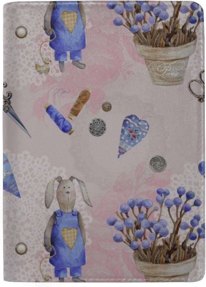 Rabbits In Flower Pots Blocking Print Passport Holder Cover Case Travel Luggage Passport Wallet Card Holder Made With Leather For Men Women Kids Family