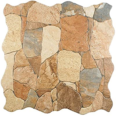 "SomerTile FAZ18ATC Roccia Ceramic Floor and Wall Tile, 17.75"" x 17.75"", Brown/Tan"