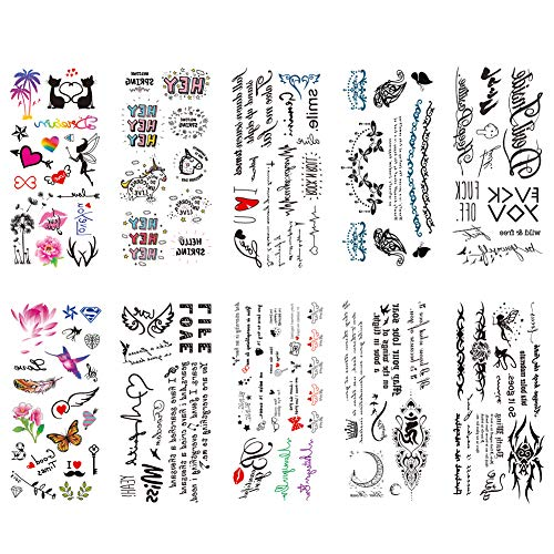 TAFLY Temporary Tattoos Lovely English Words & Black Designs Body Art Make up for Women Fake Tattoo Sticker Waterproof Tattoo with Star Heart 10 Sheets