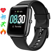 Smart Watch UMIDIGI Uwatch3 Fitness Tracker with 5ATM Waterproof All-Day Heart Rate and Activity Tracking, Sleep Monitoring, Smartwatch for Men Women Compatible with iPhone Android(Agate Black)