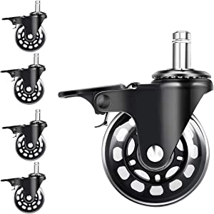 5 Packs 3 in Office Chair Caster Wheels with Brakes for Hardwood Floors and Carpet,Heavy Duty Quiet Swivel Replacement -Made from Soft Premium PU Rubber,Rollerblade Style w/Universal Fit