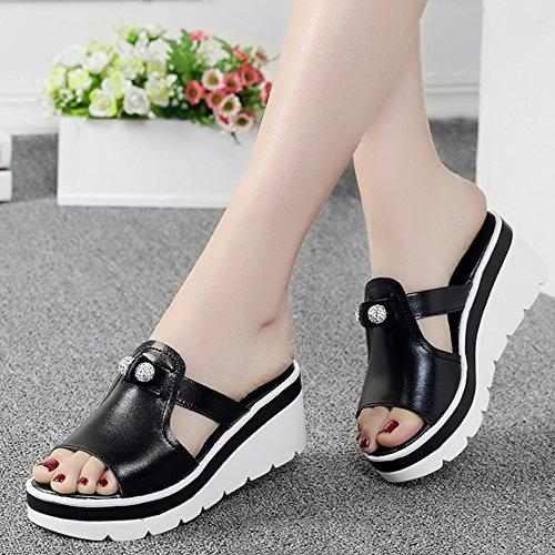XW Zapatillas de verano Zapatillas de tacón alto de los deslizadores de la manera de los deslizadores inferiores gruesos del verano del Rhinestone de los deslizadores de la manera con los zapatos exte B