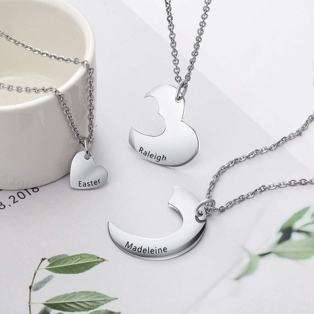 Personalized Name Heart Necklace Custom 1-3 Names Pendant Necklace Sliver Jewellery for Friendship//Couple//Family