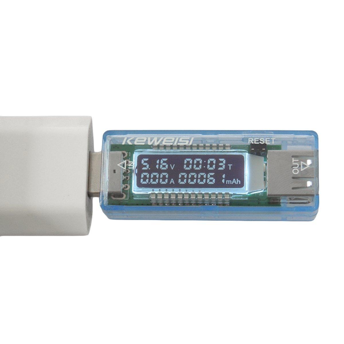 Gugutogo USB Detektor Voltmeter Amperemeter Kapazitä t Tester Meter Spannung Strom Mobile Power USB Ladegerä t KWS-V21 (Farbe: Hellblau)