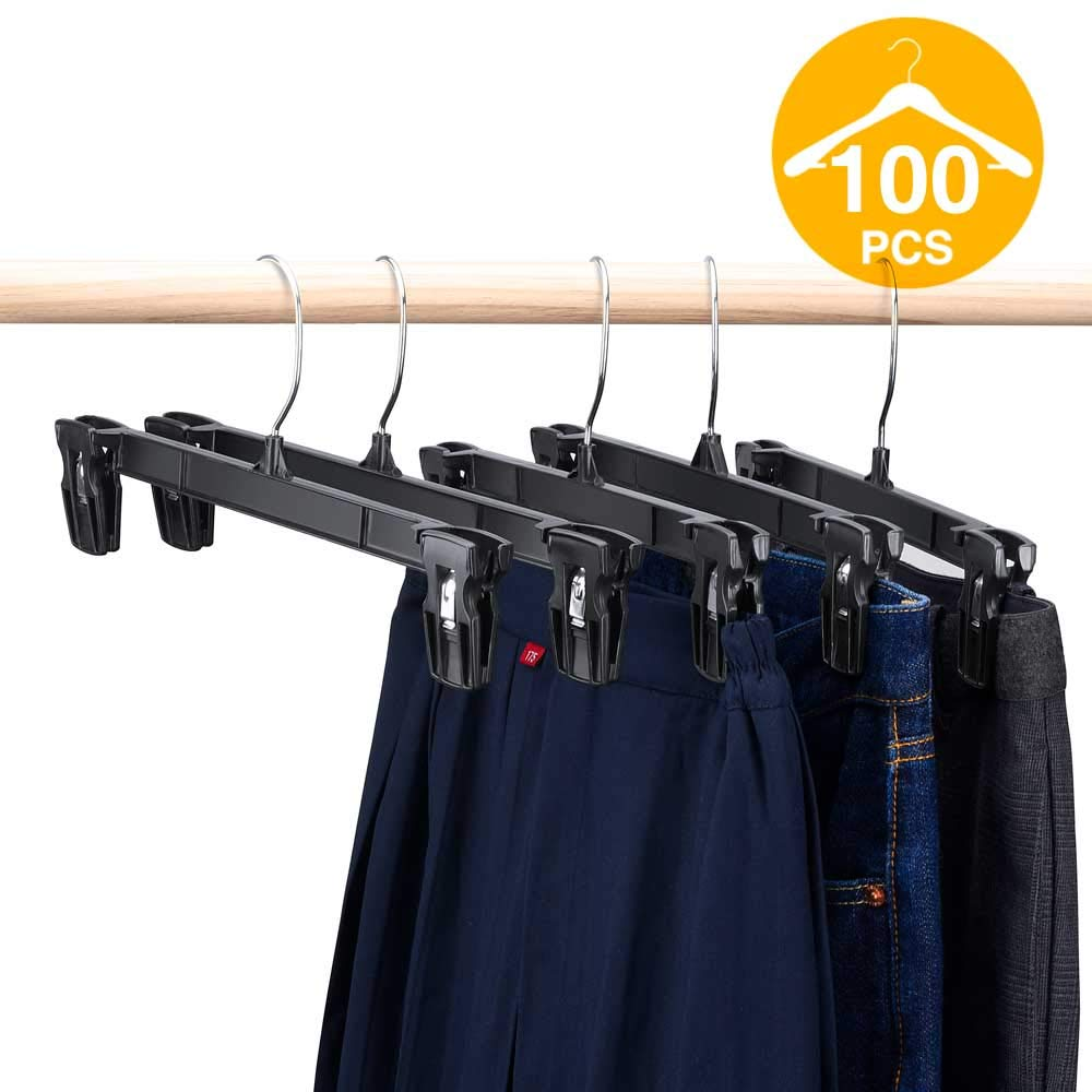 HOUSE DAY Pants Hangers 100 Pcs 12inch Black Plastic Skirt Hangers with Non-Slip Big Clips and 360 Swivel Hook, Durable Sturdy Plastic, Space-Saving Shape, Elegant for Closet Organizing
