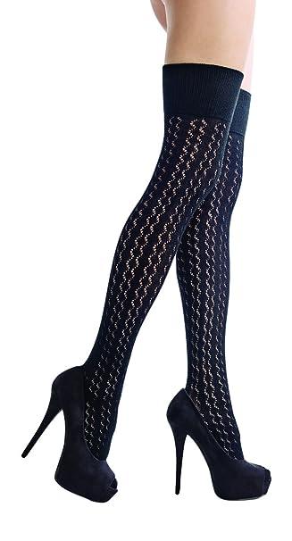 Calcetines Mujer Algodon Fantasia Argyle Altura Sobre Fashion Rodilla: Amazon.es: Ropa y accesorios