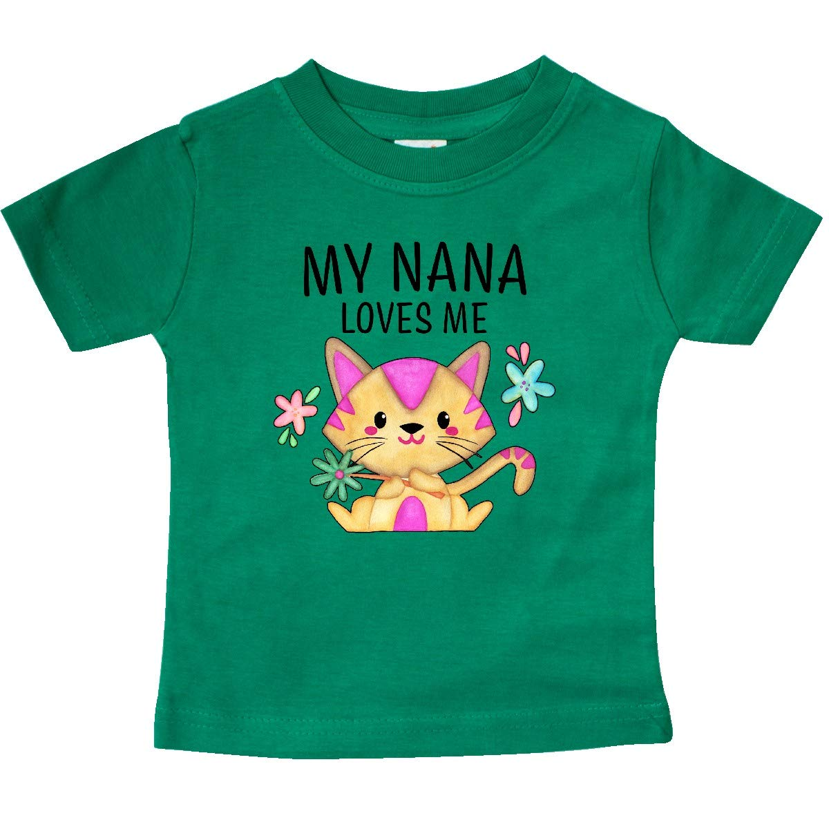 inktastic My Nana Loves Me with Cute Kitten and Flowers Baby T-Shirt
