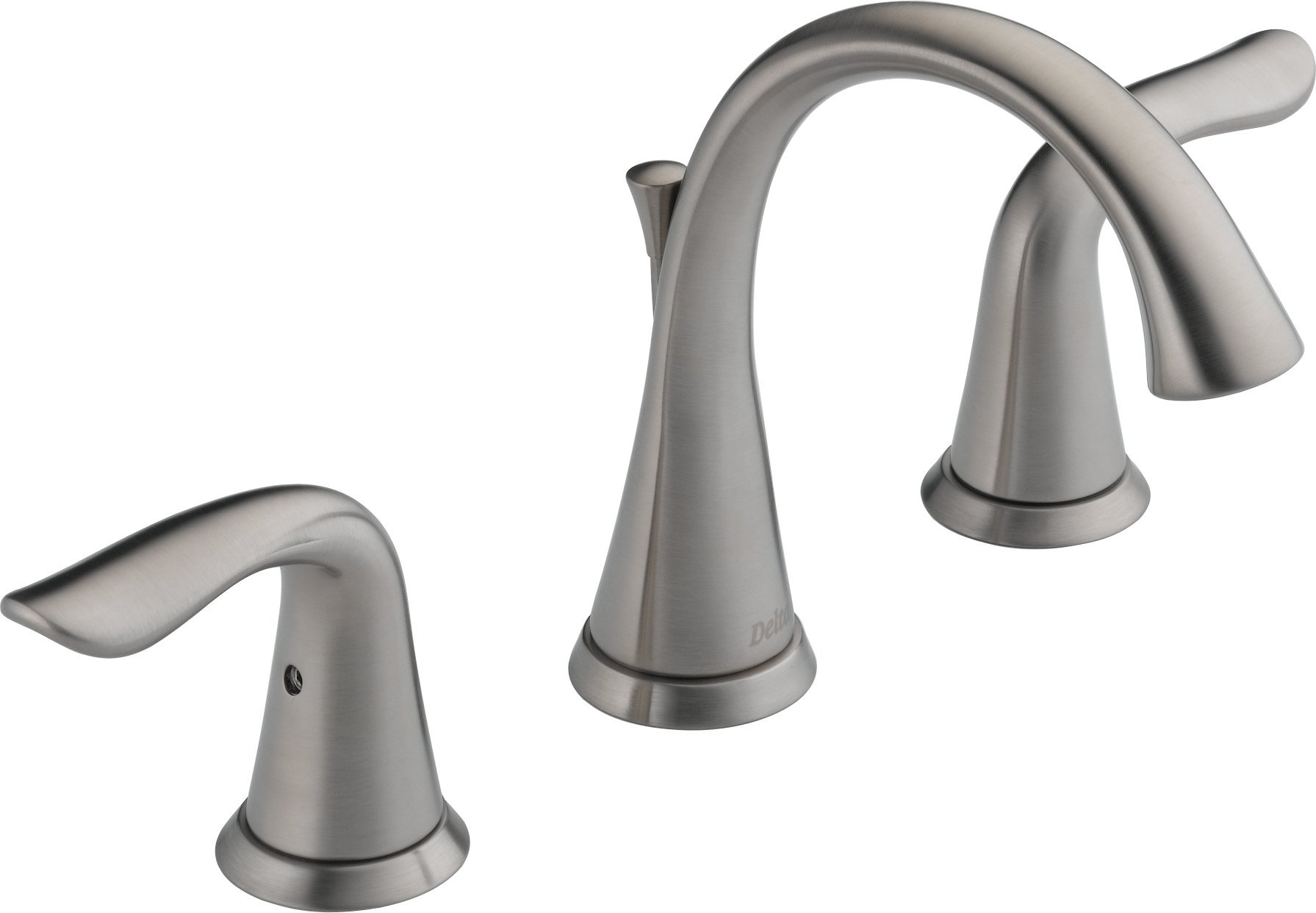 Delta 3538-SSMPU-DST Lahara 2-Handle Widespread Bathroom Faucet with Diamond Seal Technology and Metal Drain Assembly, Stainless