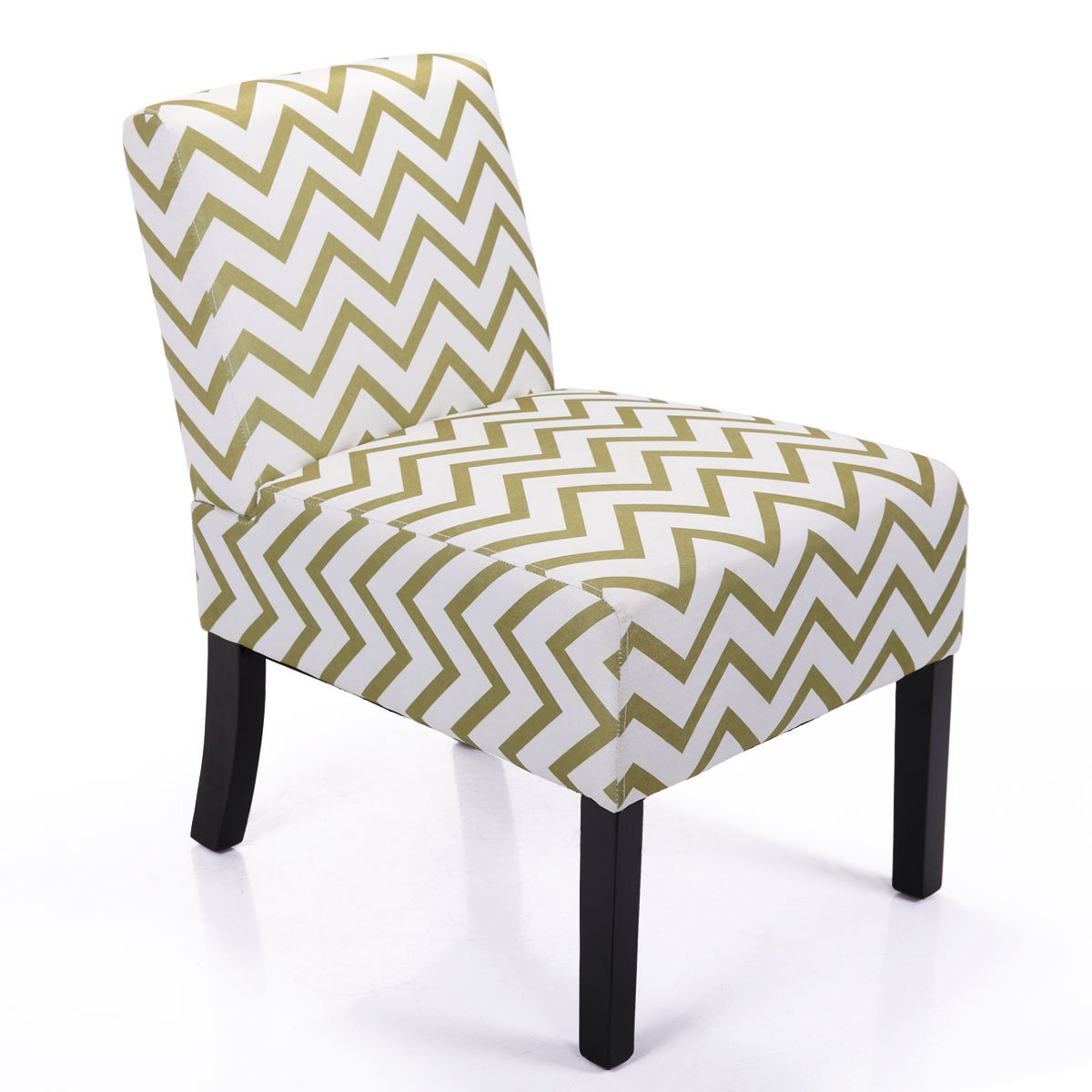 LAZYMOON Leisure Armless Chair Modern Contemporary Upholstered Single Couch Seat Accent Chair Living Room Chair,Wave Print Willow Green