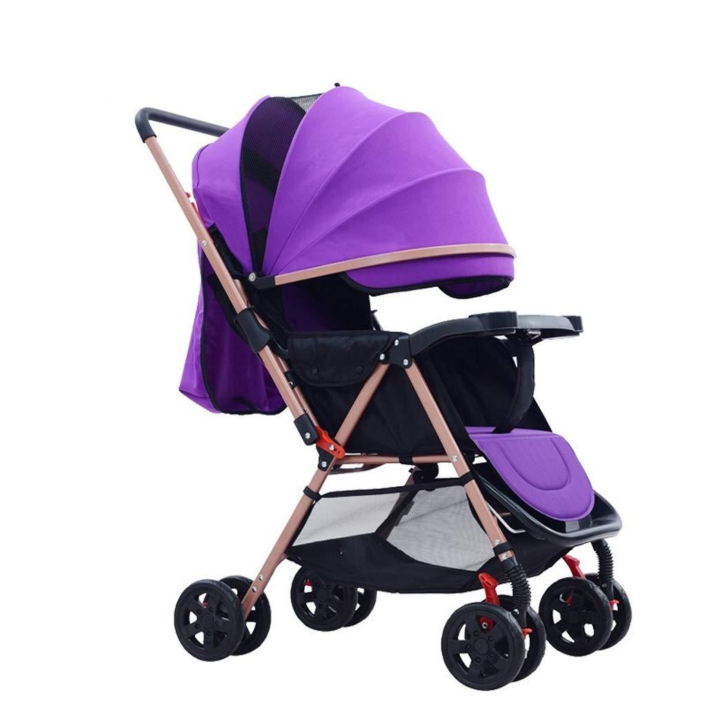 MILU 高風景超軽量ベビーカーアルミ合金折りたたみ快適な通気性の赤ちゃんのベビーカー強い衝撃吸収標準ベビーカー (色 : 紫の)  紫の B07QLS6MPH