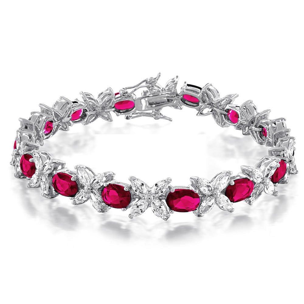 Bling Jewelry Marquise Classic Oval CZ Bracelet Tennis Emerald simulé ou simulées Ruby zircone cubique Laiton Rhodié 7EN MY-BMB5316-N
