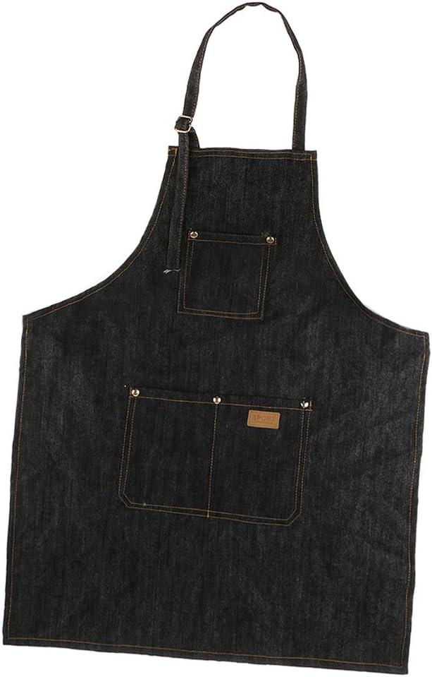 1 Piece Adjustable Washable Denim Bib Apron Work Smock Jean Apron for Men /& Women with Pocket for Salon Barber Hairdressers