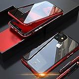 JCGOOD iPhone 11 ケース 表面と背面 透明 両面 強化ガラス 360°全面保護 マグネット式 アイフォン11 カバー アルミ バンパー 軽量 薄型 擦り傷防止 耐衝撃 ワイヤレス充電対応 レッド