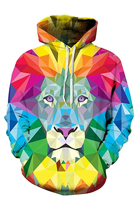 Lacostew Unisex Hoodie, 3d Paisley Flowers Lion Digital Print Pullover Hooded Sweatshirt Red L