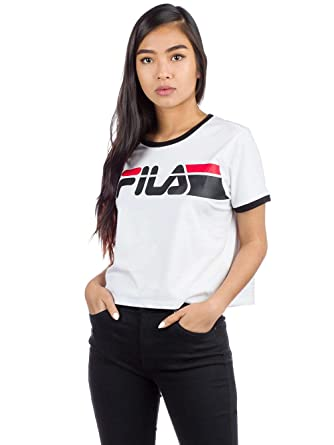 5a5dcf32a95 Fila Ashley Cropped W Camiseta White Black  Amazon.es  Ropa y accesorios
