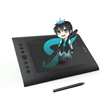 huion h610 pro graphics drawing pen tablet with hot keys compatible with windows mac