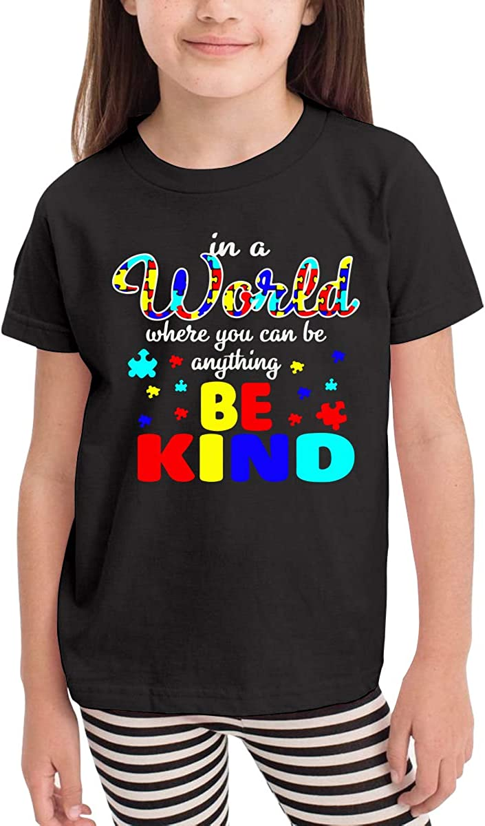 Unisex Toddler in A World Where You Can Be Kind Autism Cute T-Shirt Short Sleeve Tee for 2-6 Years Old