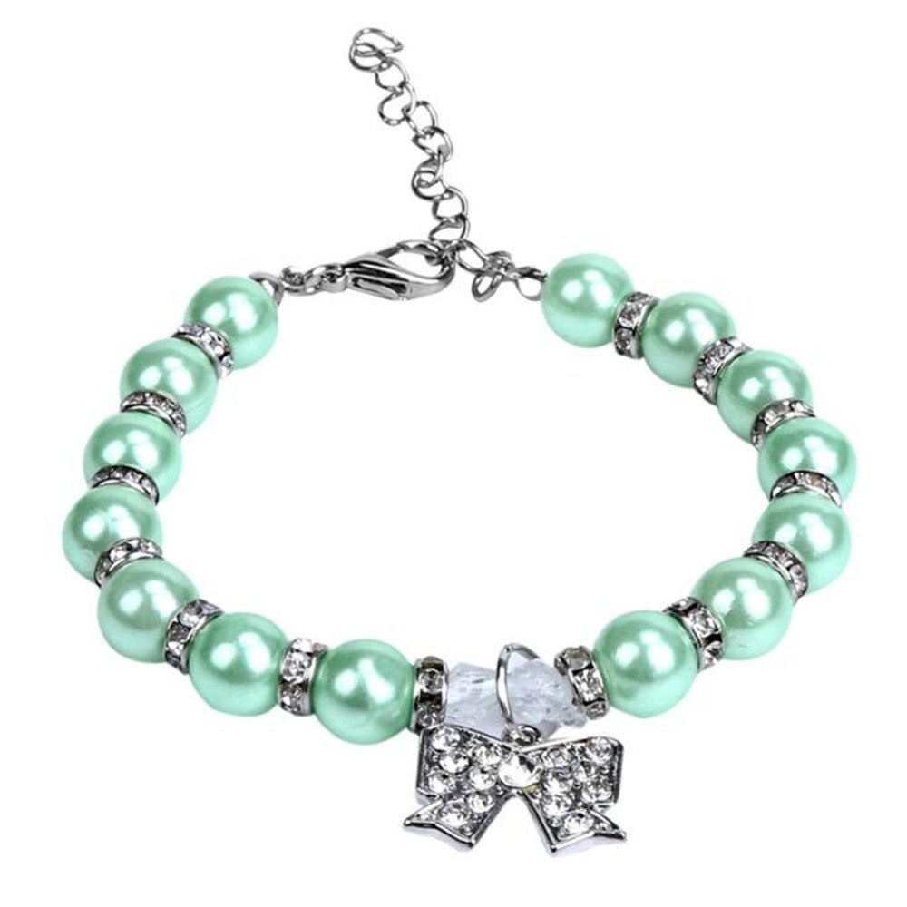 Wakeu Puppy Collar Pearls Rhinestones Bling Bowknot Pendant Dog Cat Necklace (Blue, 35)