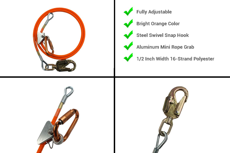 "1//2/"" 10mm Flex Prusik /& Non-Steel 10/' Climber Flip Line Kit"