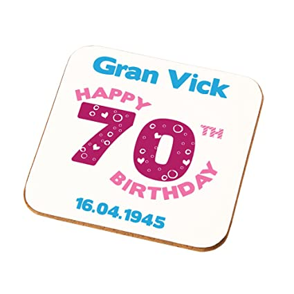 Personalised 70th Birthday Gift For Great Granny Grandma Gran Ladies Coaster Add
