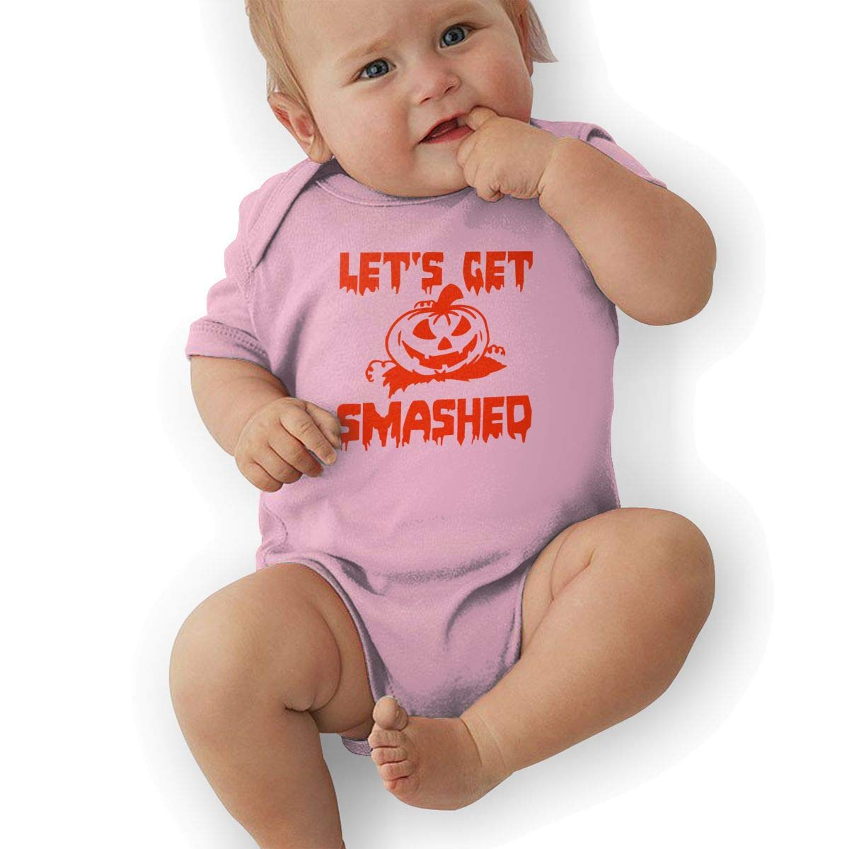 Newborn Baby Girls Bodysuit Short-Sleeve Onesie Lets Get Smashed Print Rompers Summer Pajamas