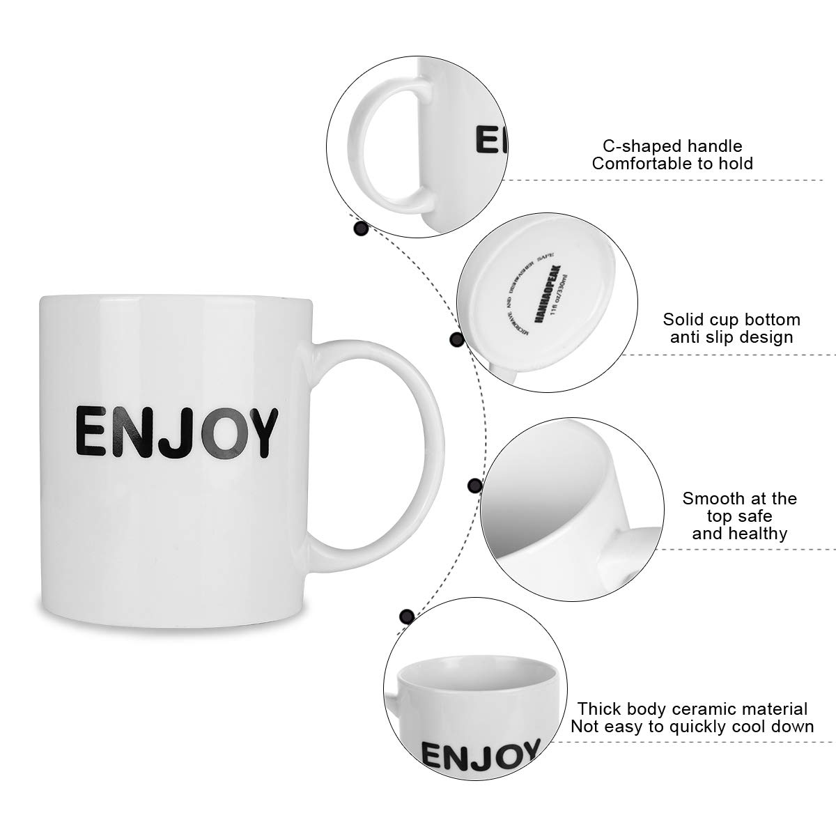 HANHAOPEAK Coffee Mug, 11oz Funny Coffee Mug: Enjoy, Unique Ceramic Novelty Holiday Christmas Hanukkah Gift for Men and Women Who Love Tea Mugs Coffee Cups, Suitable for Office and Home by HANHAOPEAK (Image #4)