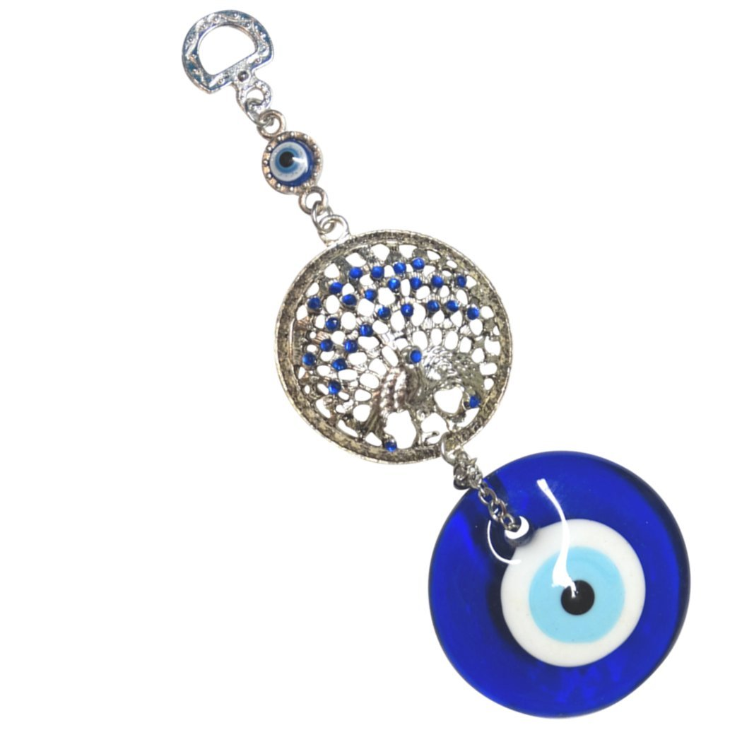 Hanging Amulet Blue Evil Eye Turkish Eye with Large Peacock Centerpiece Hanging Amulet Great for Home, Office or Car used for Blessing Protection Religious Charm by Gifts by Lulee, LLC