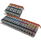 20 pack of compatible cartridges for PGI-5 and CLI-8. Includes cartridges for 4ea PGI-5 black + 4ea CLI-8 black + 4ea CLI-8 cyan + 4ea CLI-8 magenta + 4ea CLI-8 yellow.