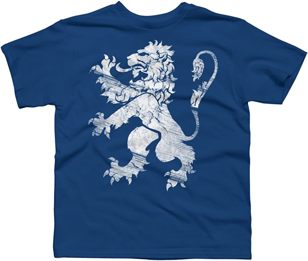 Design By Humans White Lion Rampant Boys Youth Graphic T Shirt