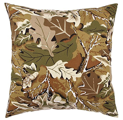 """TangDepot174; Camouflage Throw Pillow Cover, Camo Pillow Cases - 100% Cotton Canvas, Handmade - Many Colors & Sizes Avaliable - (22""""x22"""", C03 Woodland Camo)"""