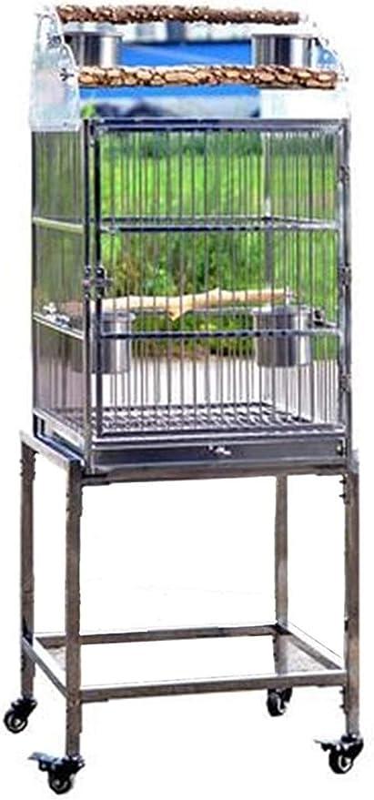 Jaula dpájaros duradera y ecológica, Jaula de vuelo para periquitos Parrot Jaulas para pájaros grandes, jaula de aves de acero inoxidable grande, jaula de loros móviles al aire libre, marco elevado y