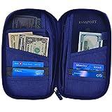 Hopsooken Travel Wallet & Passport Holder Organizer Multi-purpose Rfid Blocking ID Card Pouch Clutch Bag (Darkblue) ()