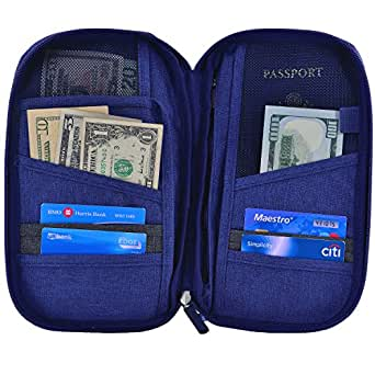 Hopsooken Travel Wallet & Passport Holder Organizer Multi-purpose Rfid Blocking ID Card Pouch Clutch Bag (Darkblue)