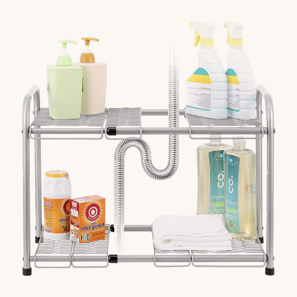 2-Tier Basket Under Sink Organizer, Expandable Shelf Organizer, Storage Rack for Kitchen, Bathroom, Flexible & Expandable 15'' to 27'' by CASAVIDA