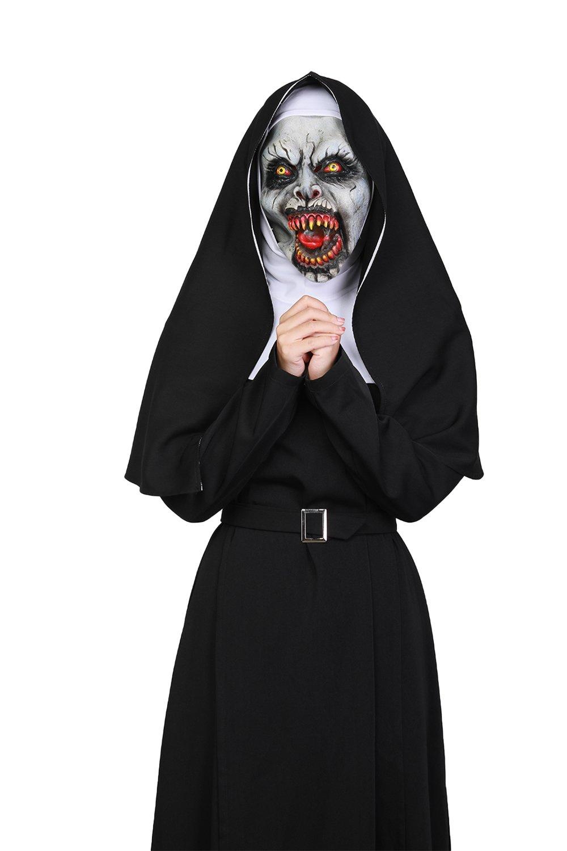 Mesky Disfraces para Mujeres Y Hombres de Monja Diablo Cosplay de Nun Traje Completo 2018 Tops Capucha Hoodie Cinturón Accesorios para Adultos M: Amazon.es: ...