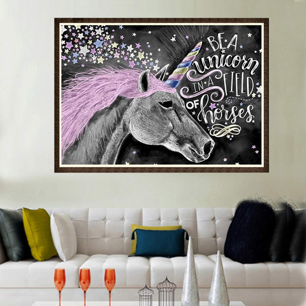 Unicorn DIY 5D Diamond Painting by Number Kit, Cartoon Crystal Rhinestone Embroidery Cross Stitch Arts Craft Canvas Wall Decor Full Diamond (Unicorn, 30X40cm)