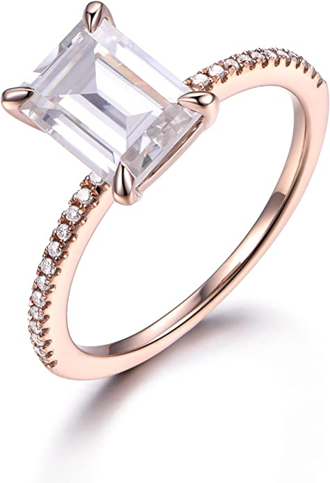 Emerald cut Moissanite engagement ring minimalist white gold ring Vintage ring moissanite ring Solid 14k Round cut ring celebrity Ring