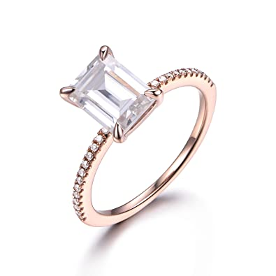 Moissanite Engagement Ring 14k Rose Gold Emerald Cut Solitaire