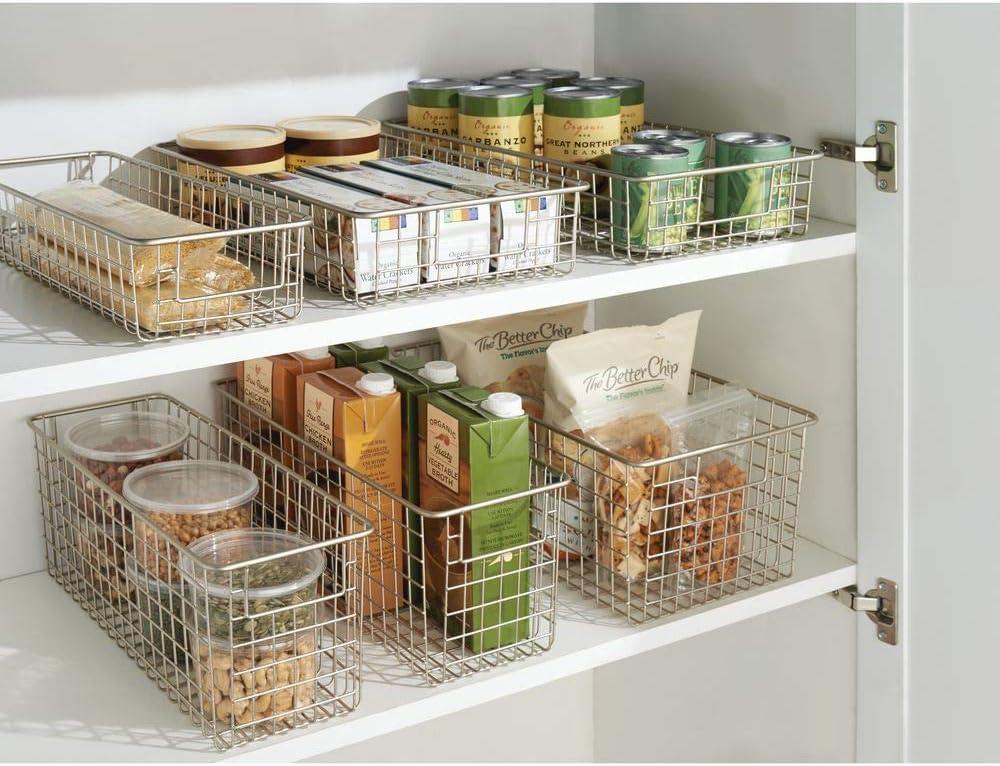 cocina o despensa Ideal para el ba/ño Organizador cocina de acero de alta calidad Cesta almacenaje con asas color plateado mDesign