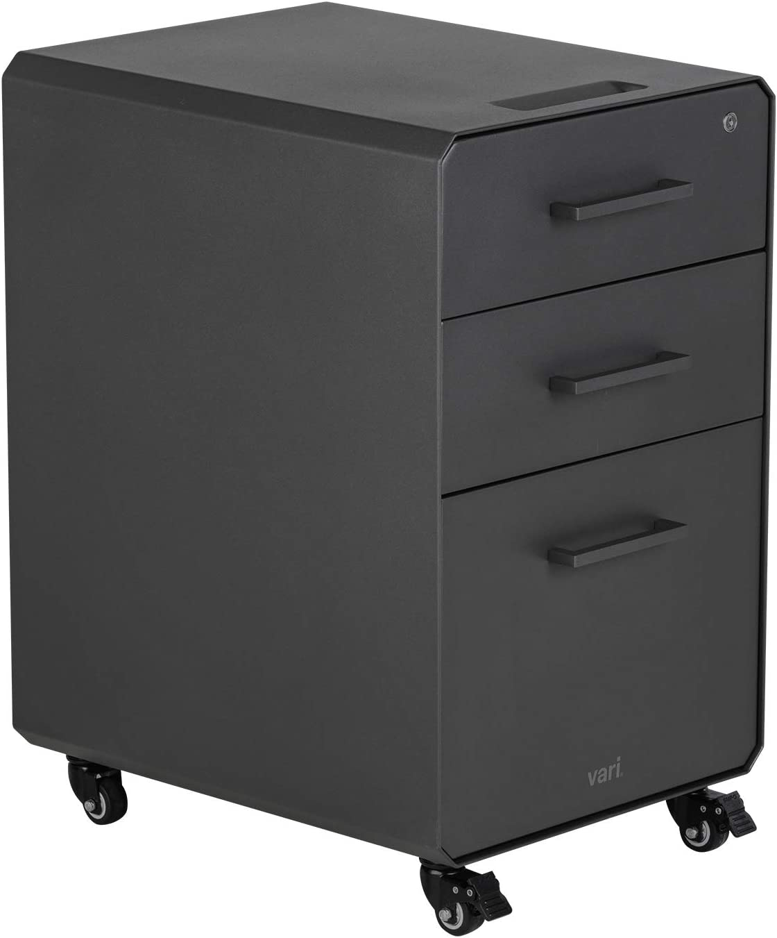Vari File Cabinet for Office Storage with Three Drawers - Roll & Lock Caster Wheels (Charcoal-Grey)