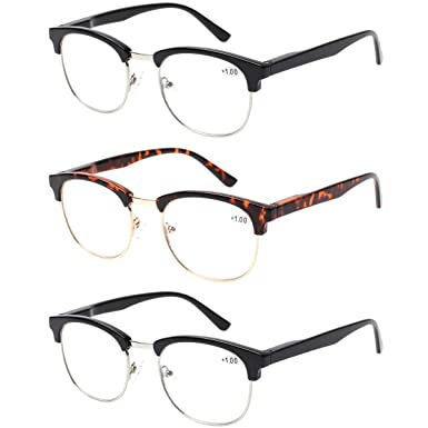 c5f18abb83a0 Amazon.com  Round 3 Pack Spring Hinges Frame Reading Glasses Metal Readers  Men   Women - crystal clear vision (2 Black 1 Tortoise