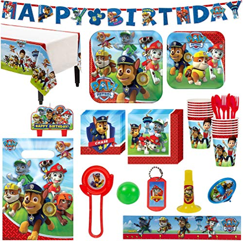 (Paw Patrol Birthday Party Kit, Includes Happy Birthday Banner and Party Favor Pack, Serves 16, by Party)