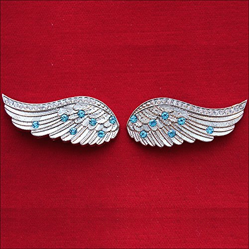 (HILASON 1 Piece Angel Wings Bling Nickel Plated Concho Saddle Headstall Cowgirl)