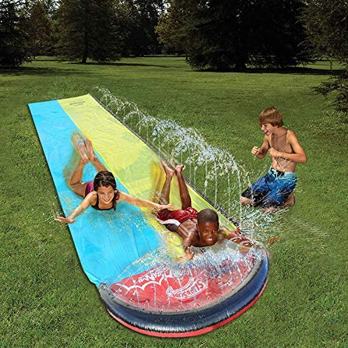 ClothHouse Dual Racing Carriles Toboganes De Agua para Jardín con Aspersores Y Splash Inflable Crash Pad