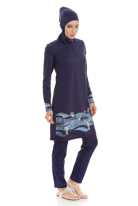 Bade Burkini für Damen, muslimischer Full Cover Badeanzug Langarm, Muslim Badebekleidung vollbedeckt bescheiden und modern, Schutz vor UV Strahlung - auch Übergrößen