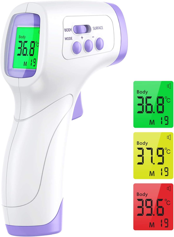 Termometro infrarrojos Wawech termómetro infrarrojo profesional médico sin contacto remoto termómetro digital para la frente memoria 99 lecturas para adultos bebés y niños