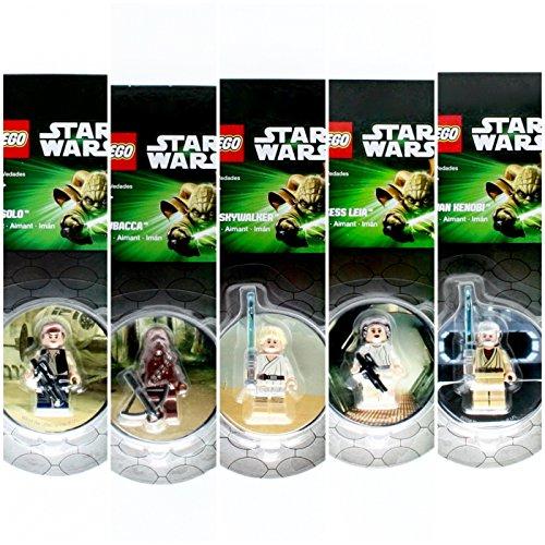 Set of 5 LUKE SKYWALKER, HAN SOLO, CHEWBACCA, PRINCESS LEIA & OBI-WAN KENOBI 2013 Star Wars LEGO Magnet Minifigures Collection