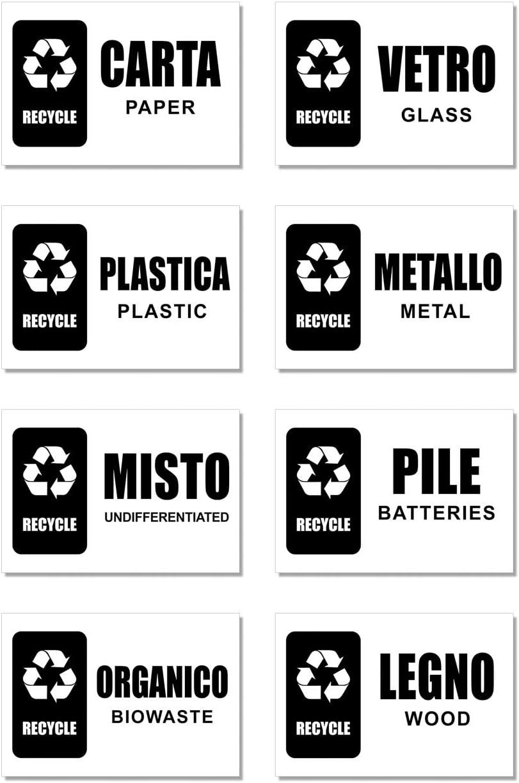 Italiano e Inglese 63x38 mm Etichette riciclo Readyprint Adesivi per Raccolta Differenziata per bidoni Riciclaggio rifiuti Mis 7 pz